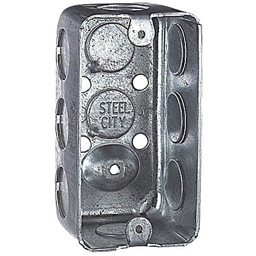 "Steel City 58351-1/2 Steel Handy/Utility Box, 4"" x 2-1/8"" x 1-1/2"", 10.3 cu.in. w/ 1/2"" KOs"