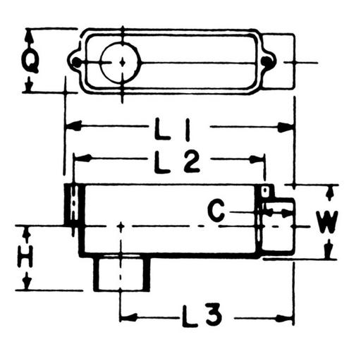 PVC LB100 E986F 1 LB CONDULET LB10 TOP 500 ITEM