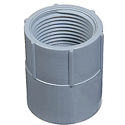 Female Adapter, Size 1/2 Inch, Length 1-9/16 Inches, Outer Diameter 1-7/64 Inches, Material PVC, Color Gray, For use with Schedule 40 and 80 Conduit