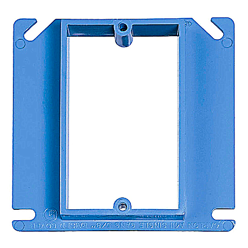 Carlon A410 4 Inch Square 1 Gang 1/2 Inch Raise 1-Device Plaster/ Mud Ring Frame ENT Nonmetallic PVC Blue