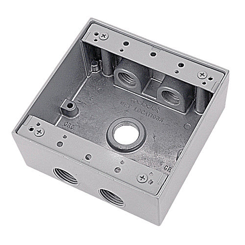 Red Dot 2IH5-2 5-Hole 2-Gang 3/4 Inch Hubs Raintight Device Box
