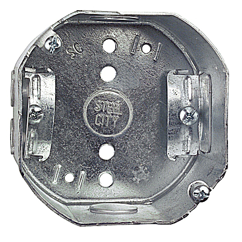 Steel City 54171N-25 4 Inch Side 22.5 In Steel Octagon Box with 1/2 Inch Knockout and Clamp