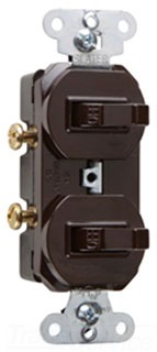 Single Pole, Double Combonation Switch, 15 amps, 120/277 volts, With Ground, Brown.