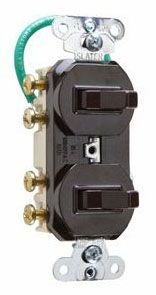 Double Three-way Combination Switch, 15 amp, 120/277 volts, Light Almond.