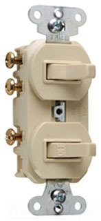 Single Pole, Three-way Combination Switch, 15 amps, 120/277 volts, Ivory.