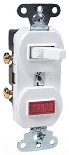 15 amps, 120 volts, Single Pole, Single Pilot Light, Combination Switch, Non-Grounding, White.