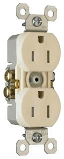 Legrand 3232-TRLA Tamper-Resistant Duplex Grounding Receptacle. 15 Amp, 125 Volt, Light Almond