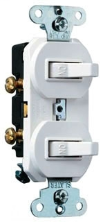 Single Pole, Three-Way Combination Switch, 15 amps, 120/277 volts, White.