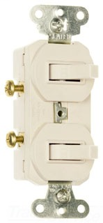15 amps, 120/277 volts, Single Pole, Three-way Combination Switch, Non-Grounding, Light Almond.