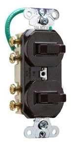 15 amps 120/277 volts, Double Three-way Combination Switch, Grounding, Ivory.