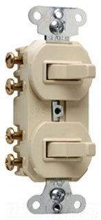15 amps 120/277 volts, Double Three-way Combination Switch, Non-Grounding, Ivory.