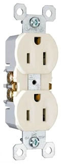 Legrand 3232-W Duplex Grounding Receptacle w/ High-Impact Resistant Thermoplastic Construction, 15 Amp, 125 Volt, White