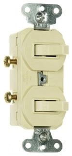 Single Pole, Double Combination Switch, 15 amps, 120/277 volts, With Ground, Ivory.