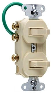 Single Pole, Three-Way Double Combination Switch, 15 amp 120/277 volts, Ivory.