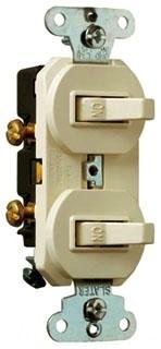 Legrand 690-WG Single Pole, Double Combination Switch, 15 AmLegrand, 120/277 Volts, w/ Ground, White