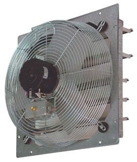 10 IN Direct Drive Exhaust Fan, Flow Rate- 460/540/680CFM, 120 V, 1 PH, 1 AMP, Fan Speed- 1080/1250/1560 RPM, Shutter, Wall mounting, AC Motor, Steel (Guard) housing material, Aluminum blade material