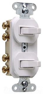 15 amps 120/277 volts, Double Three-way Combination Switch, Non-Grounding, White.