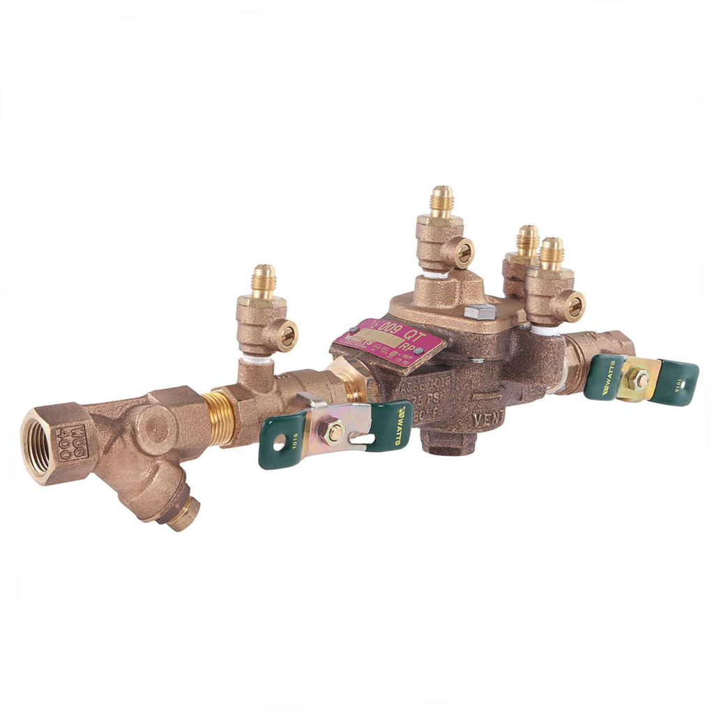 1/2 In Lead Free Reduced Pressure Zone Assembly, Quarter Turn Shutoff Valves, Bronze Strainer