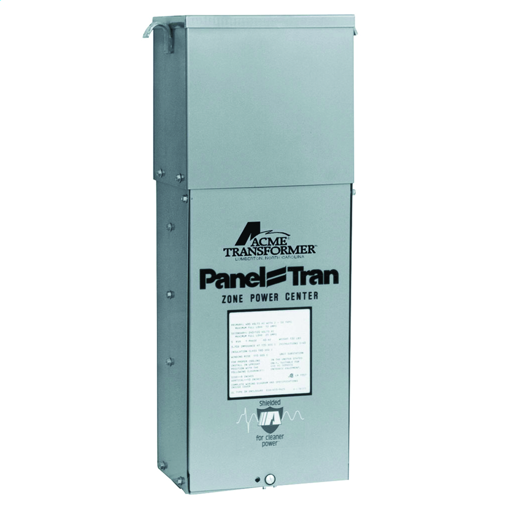 Panel Tran Zone Power Centers - Single Phase, 480 - 120/240V, 10kVA, Snap In Breakers