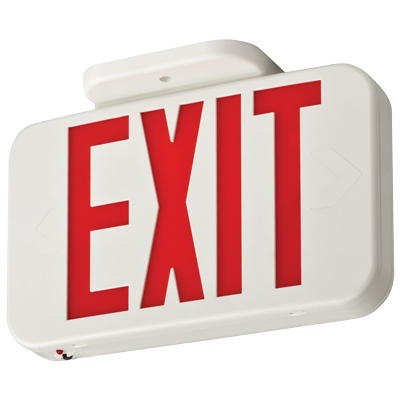 Lithonia Lighting EXR LED EL M6 0.8 W 120/277 VAC Red Thermoplastic Nickel Cadmium Battery Emergency LED Exit Sign