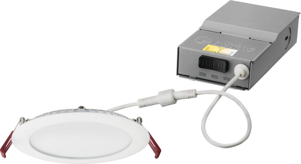 "Lithonia WF6-LED-30K40K50K-90CRI-MW-M6 6"" Wafer-Thin LED Downlight, 14W, 3000K/4000K/5000K, 90CRI, Matte White"