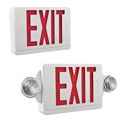 Mayer-Quantum White LED Exit and Emergency Light Combo with Red Letters-1