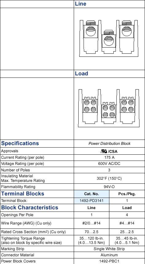 A-B 1492-PD3141 POWER BLOCK