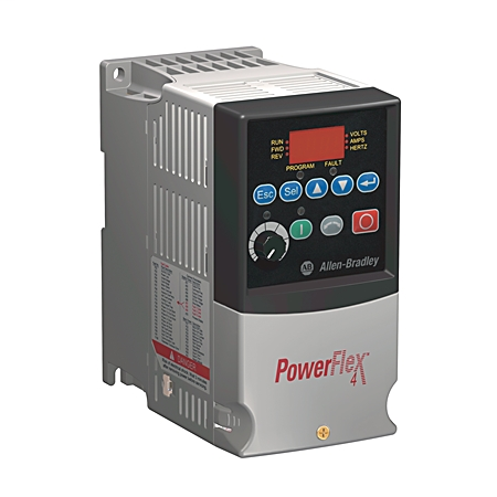 AB 22A-D2P3N104 PowerFlex4 AC Drive, 480VAC, 3PH, 2.3 Amps, 0.75 kW, 1 HP,Frame Size A, IP20 (Open), LED Display, Fixed Digital Keypad, No C