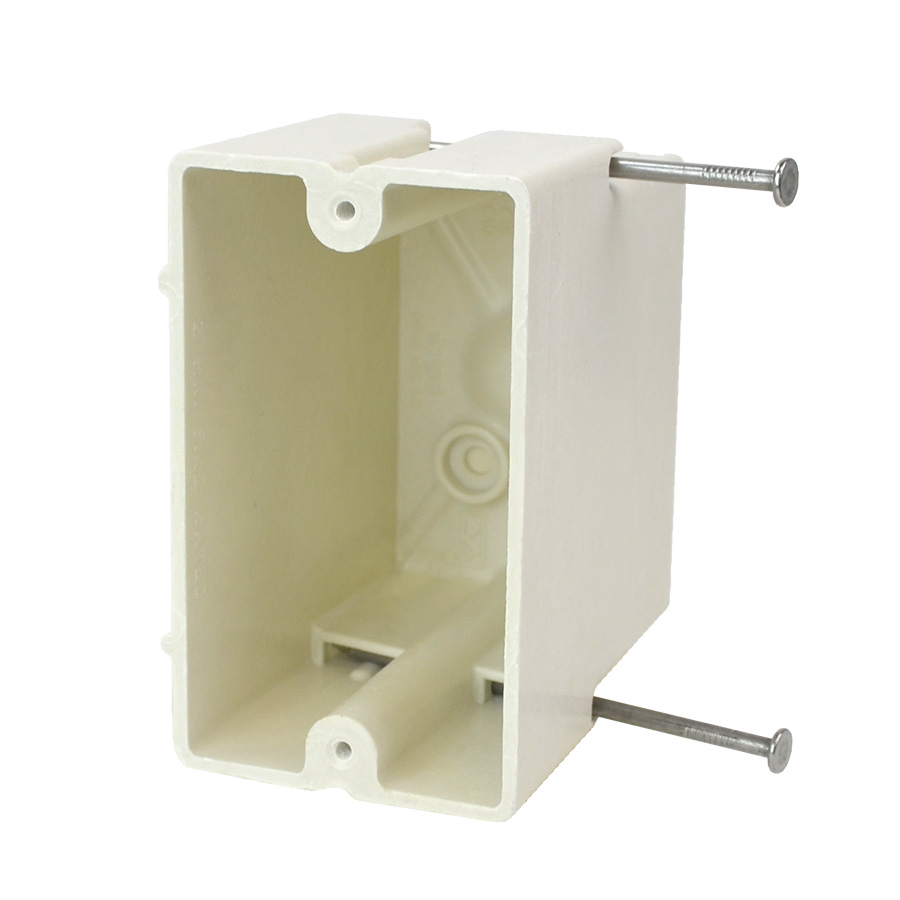 Single Gang Electrical Box, D: 3-1/4 in., W: 2-1/4 in., H: 3-13/16 in.