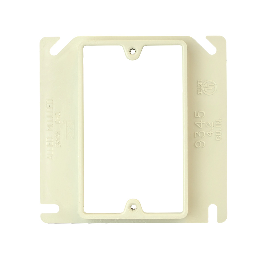 Allied Moulded Products 9345 4 x 4 x 1/2 Inch 4.2 In 1-Gang Electrical Junction Box Plaster Ring