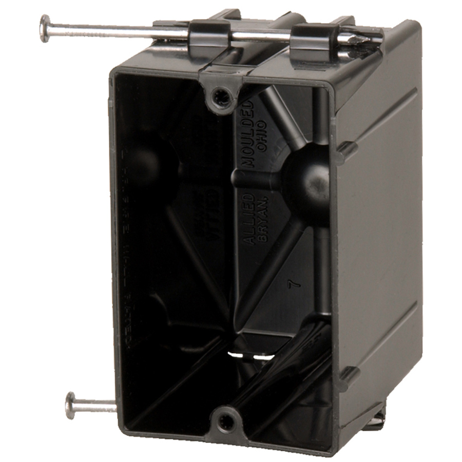 Allied Moulded Products P-201 3-1/16 x 2-1/4 x 3-3/4 Inch 20.5 In 1-Gang Angled Nail Switch/Receptacle Outlet Box
