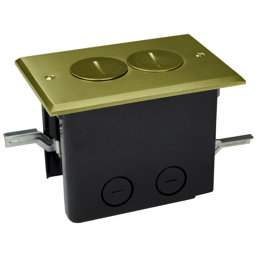 Allied Moulded Products FB-2 Thermoplastic Floor Box 25 In Rectangular Brass Cover Duplex Device