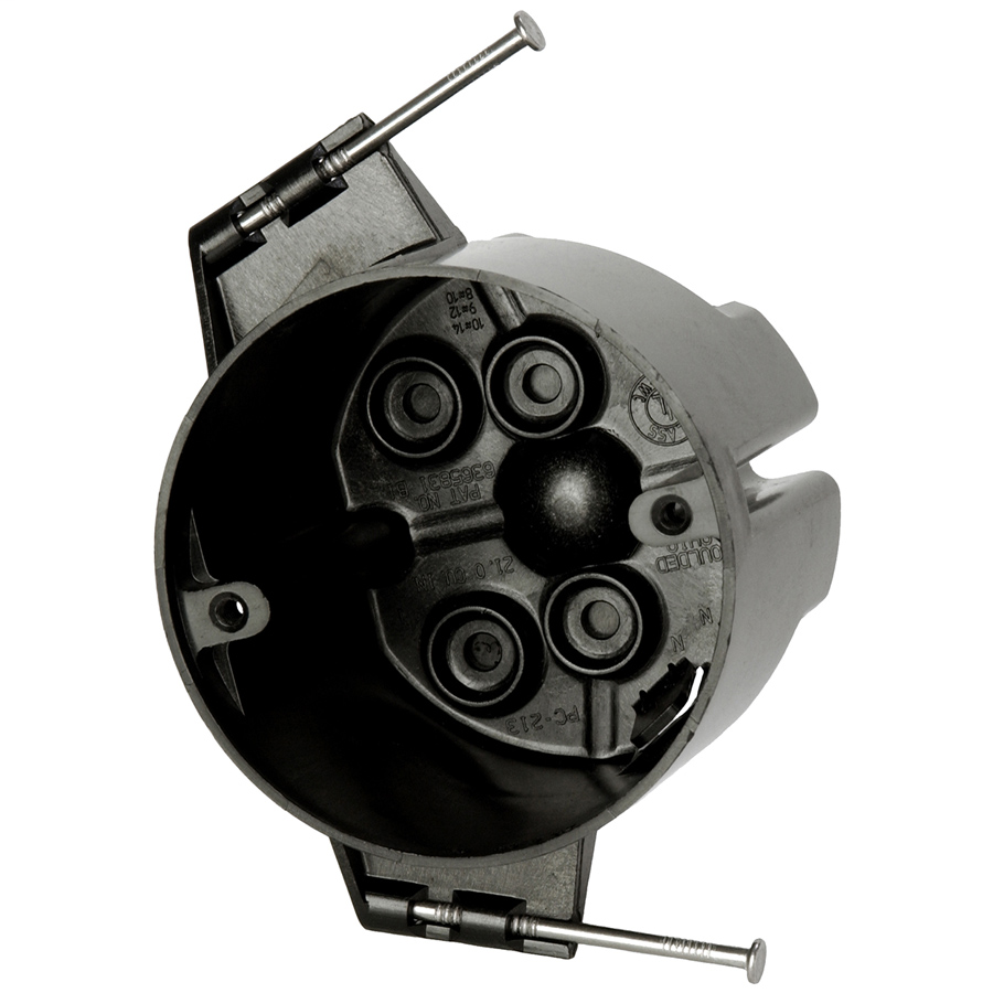 Allied Moulded Products PC213-N 2-7/8 x 3-1/2 Inch 21 In Polycarbonate Round Ceiling Fixture Outlet Box