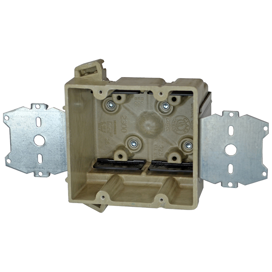 Allied Moulded Products 2300-2Z2K 3 x 4 x 3-3/4 Inch 32.5 In 2-Gang Fiberglass 1/4 Inch Offset Switch/Receptacle Outlet Box