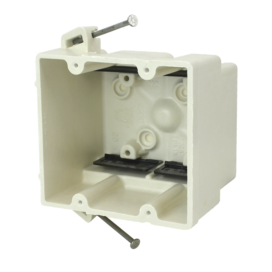 ALLI 2300-N 2GANG 32.5CU-IN VOLUME ANGLED MID-NAILS SWITCH AND OUTLET BOX