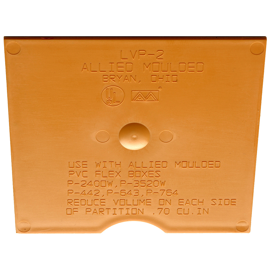 Allied Moulded Products LVP-2 3/32 x 3-1/16 x 3-1/2 Inch 1-Gang Fiberglass Low Voltage Divider Plate