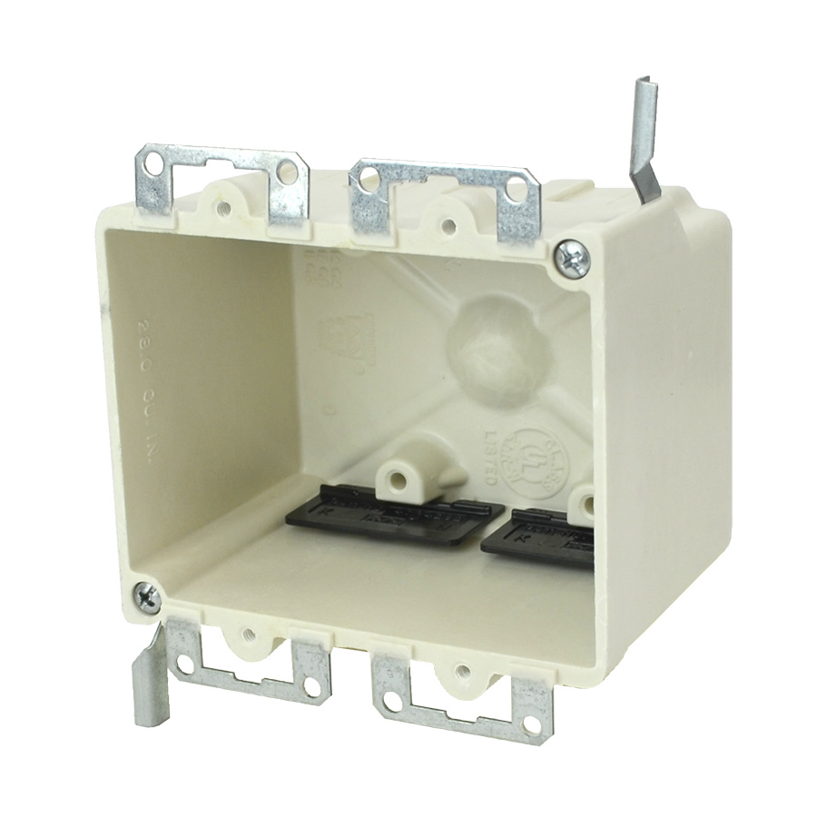 Two gang electrical box for use with nonMetallic sheathed cable