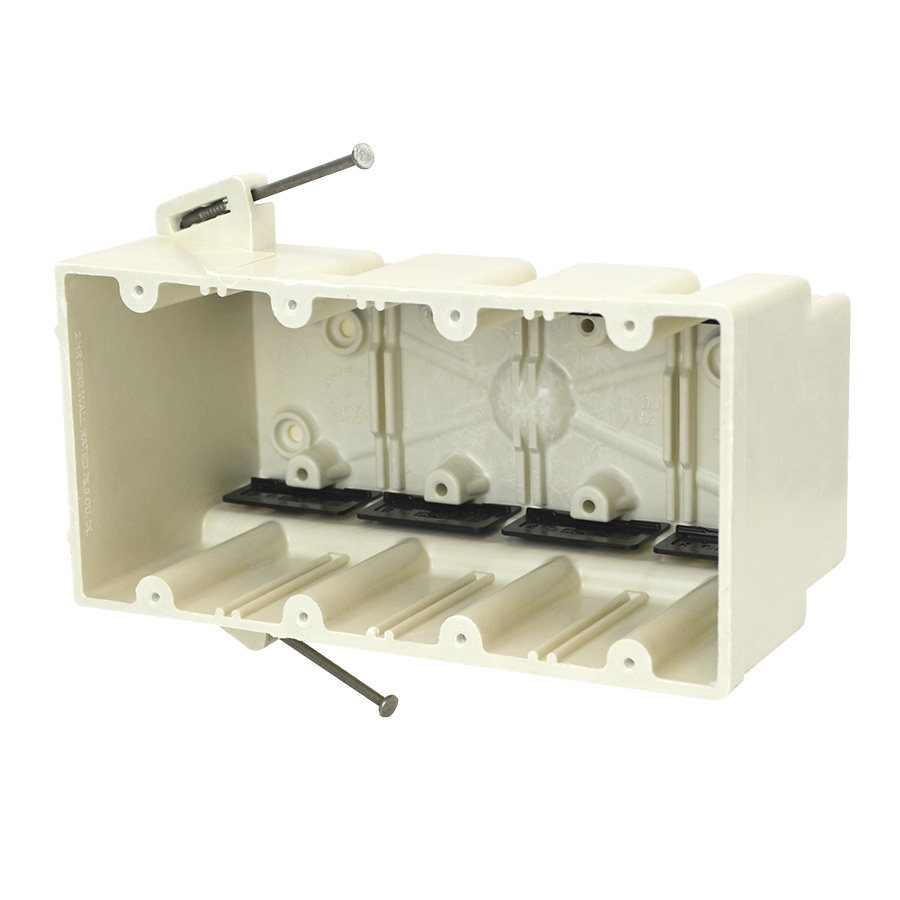 Allied Moulded Products 4304-NK 3-9/16 x 7-1/2 x 3-3/4 Inch 75 In 4-Gang Angled Mid-Nail Switch/Receptacle Outlet Box