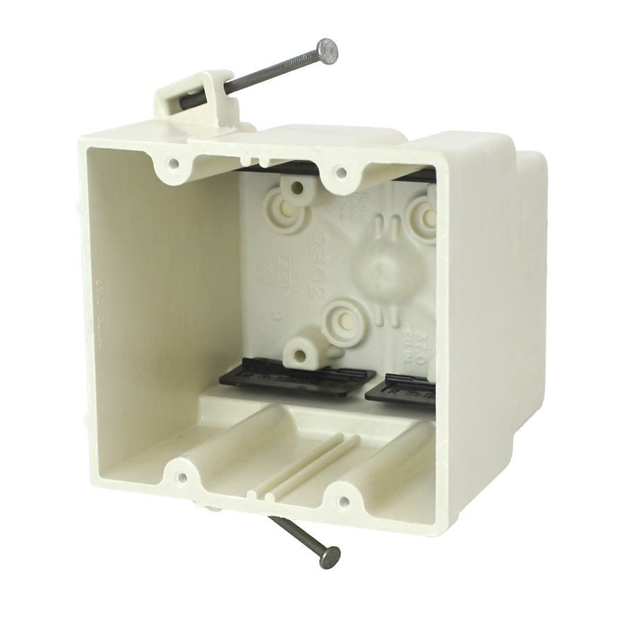 Allied Moulded Products 2302-NK 3-7/16 x 4 x 3-3/4 Inch 37 In 2-Gang Angled Mid-Nail Switch/Receptacle Outlet Box