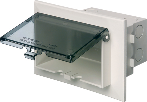 ARLINGTON Low profile inbox for new brick construction. Recessed electrical box with weather proof in use cover. Horizontal. White with clear cover.