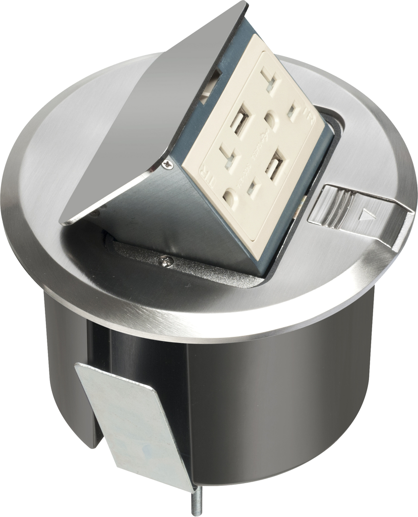 ARLINGTON Pop up counter top box kit with round nickel plated cover. With Round plastic box. Comes with 20 amp decorator style tamper resistant receptacle with (2) USB ports.