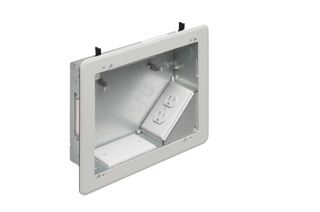 """ARLINGTON 8 x 10 Steel TV BOX. Includes line voltage box, duplex receptacle. 1-1/2"""" knockout, cable entry device, wire management brackets. For new and old construction."""