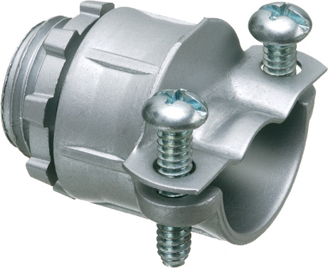 "Twin Screw zinc die-cast all-pupose 1/2"" knockout connector for Flex, AC, MCI, and NM cable secures into knockout with locknut. With a cable range of .630 to .810 and an end stop of .615."