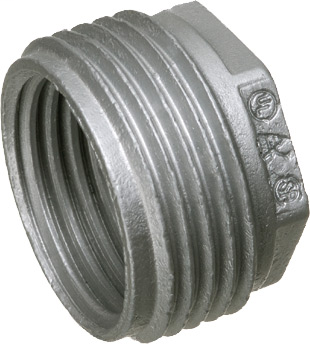 "Mayer-1-1/2"" x 3/4"" Hex head reducing bushing, zinc die-cast, mantains ground path and able to pass ul high current testing.-1"