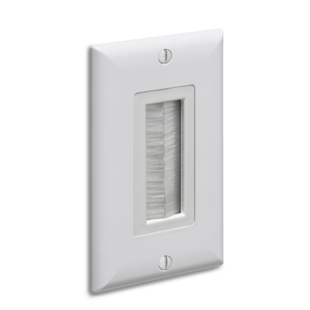 ARLINGTON Cable entry device with brush style cover. White Non-metallic. Includes two #6 screws. Comes with wall plate