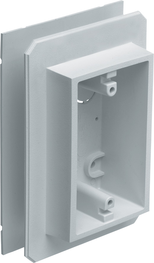Weatherproof device outlet box for installing on all types of siding. Installs before or after siding is up vertically or horizontally. Paintable. 19.4 cu. in.