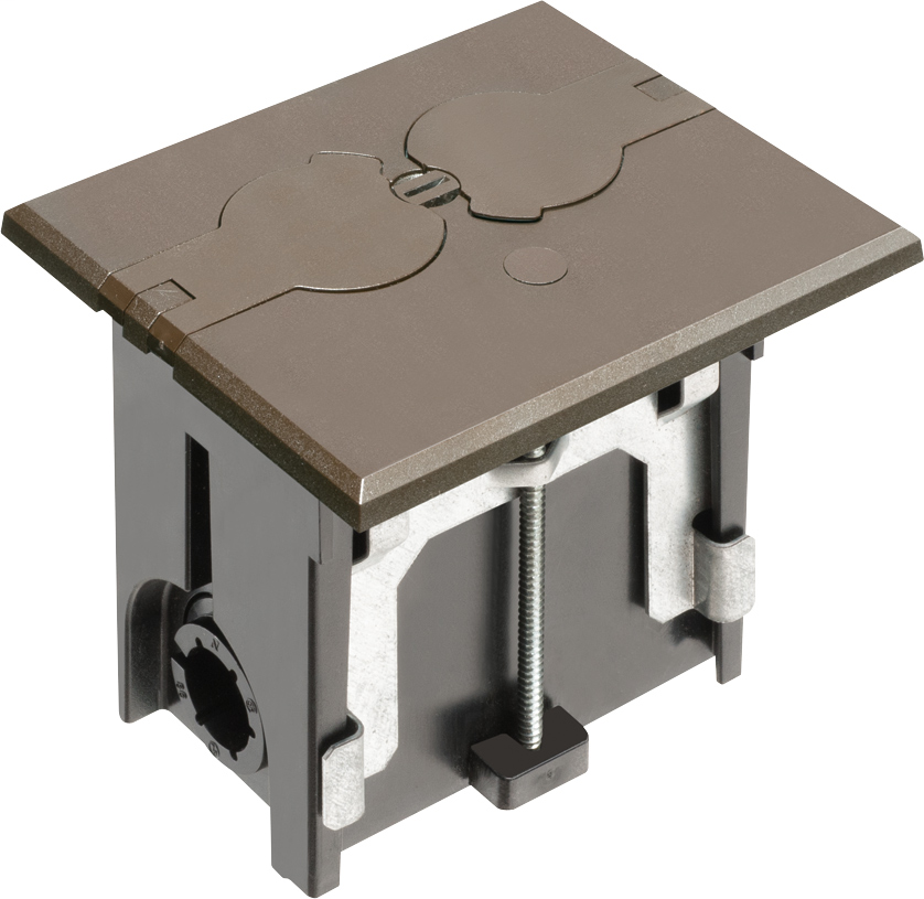 Mayer-Non Metallic adjustable floor box. Brown with flip lids. Includes tamper resistant duplex receptacle, cover plate with gasket and Arlington NM94 connector and Arlington NM900 knockout plug.-1