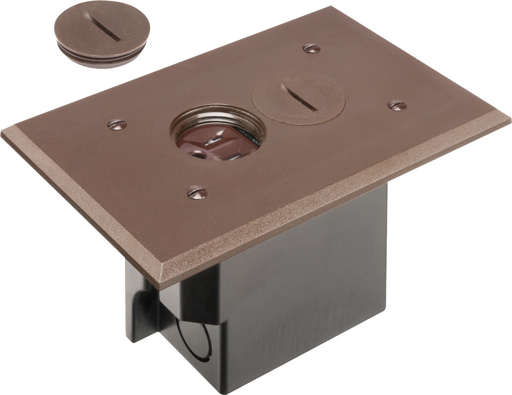 Mayer-Non Metallic Box with metal covers for existing floors. Rectangular gasketed, non metallic brown cover with threaded plugs.-1