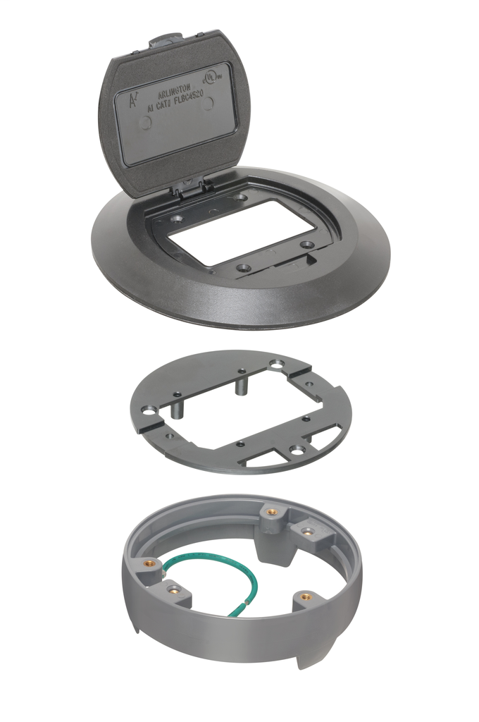 Mayer-Finish your floorbox installation with Arlington's round non-metallic cover kits with flip lid. The black colored kit fits on Arlington's FLBC4500 box. Includes round plastic gasketed cover, mounting plate and leveling ring.-1