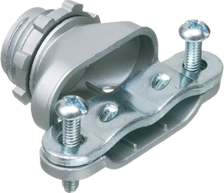 """Zinc die-cast, single screw duplex connector with steel strap and is secured into a 1/2"""" knockout by a locknut. Concrete tight when taped."""